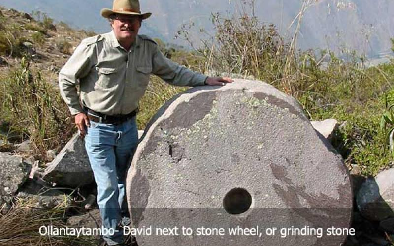 David Hatcher Childress next to Ollantaytambo Wheel