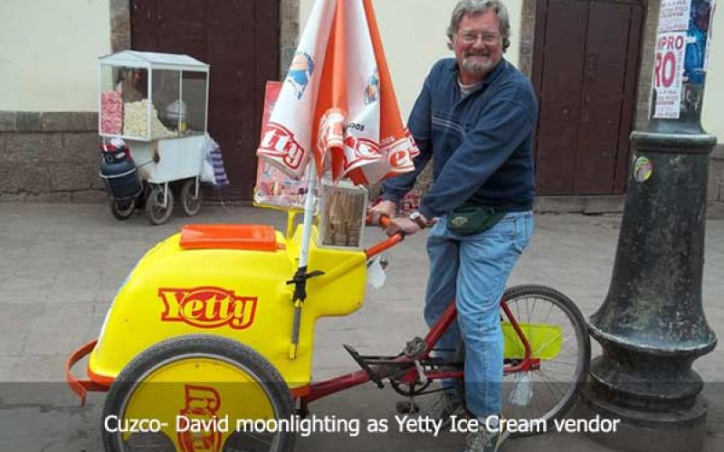 David Hatcher Childress in Cuzco on Yetty Ice Cream Vendor vehicle